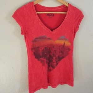 Mudd City Skyline Heart Red V-Neck